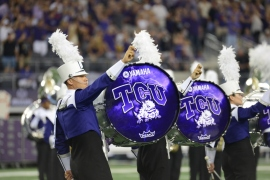 The TCU Marching Band performed at AT&T Stadium when the Horned Frogs battled LSU