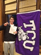 Bo Puckett from Highland Park High School in Dallas, TX, celebrates becoming the newest member of the Horned Frog family.