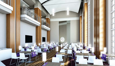 A mock of the dining facilities available to students in the multi-purpose building.