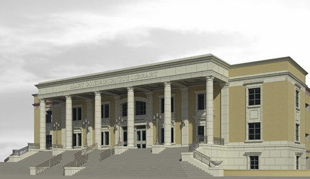 An artist's sketch of the new Mary Couts Burnett Library, facing University Drive.