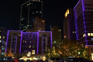 Purple lights on buildings is just one of the ways in which the city of Fort Worth shows its TCU pride.