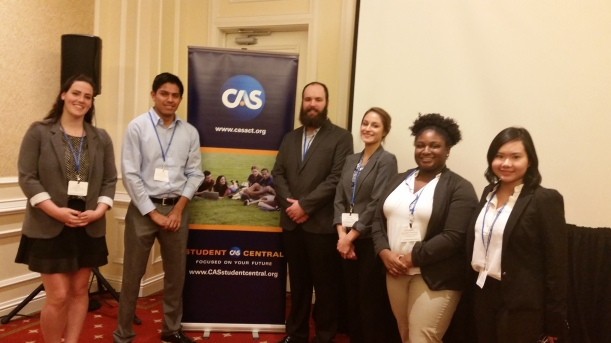 Six students from the actuarial department at a spring 2015 conference in Dallas.